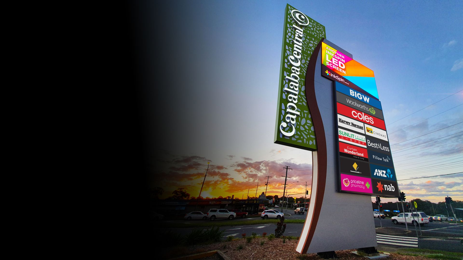 Capalaba Central digital pylon signs with tenant lightboxes